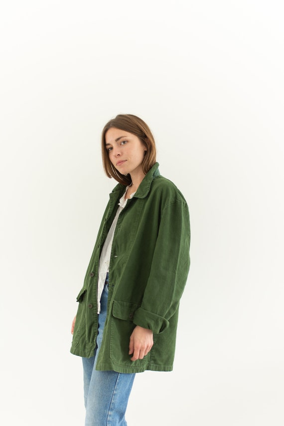Vintage Olive Green Army Jacket   Forest Green Cot