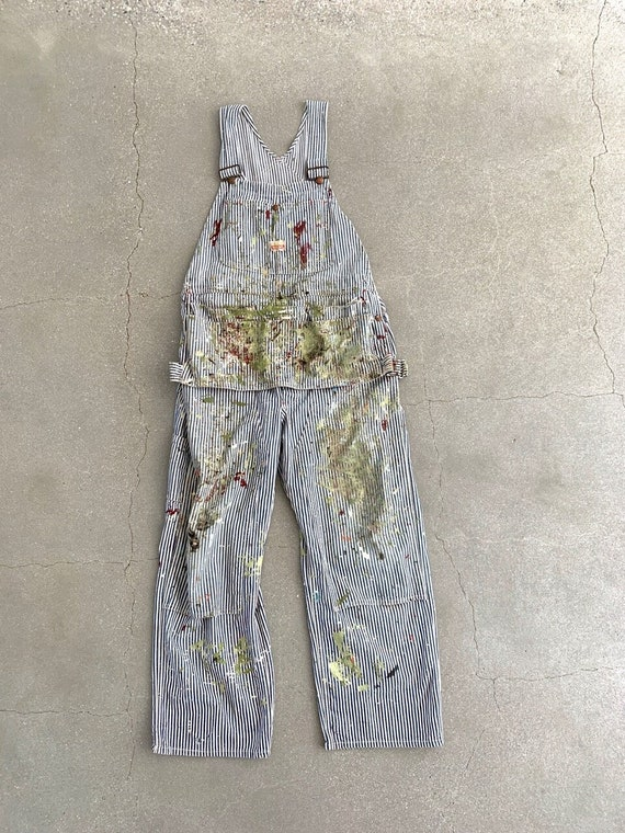 Vintage Paint Flecked Overalls   Striped 60s Pay D