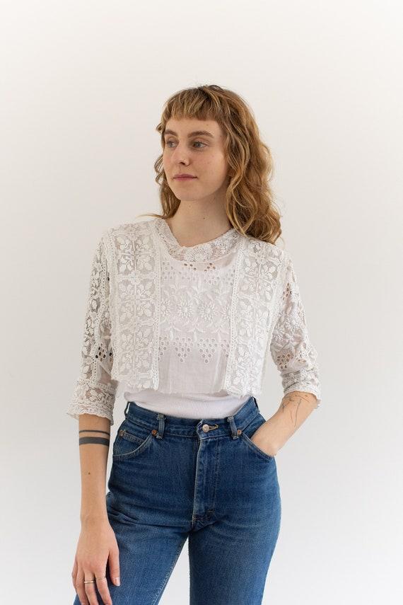 Vintage Victorian White Cotton Cropped Blouse | Ey