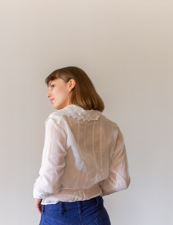 Vintage Victorian White Cotton Blouse | Eyelet Wh… - image 5