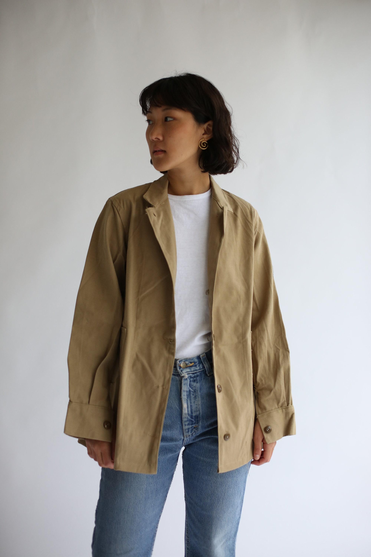 Veste en sergé coton kaki Vintage Vintage kaki   Ceinturé manteau kaki  militaire britannique de vêtements fdf1741eee9