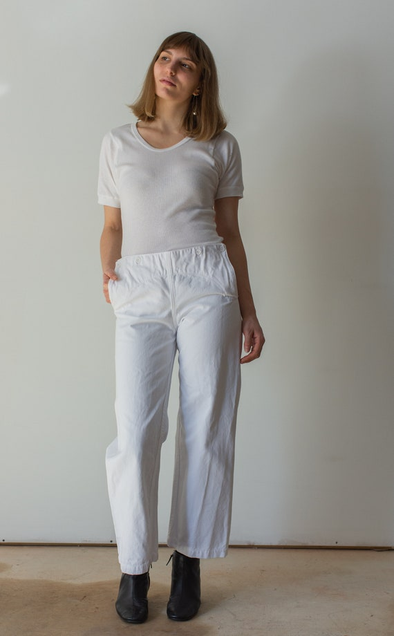 Vintage 30 Waist White Broadfall Trousers | High W