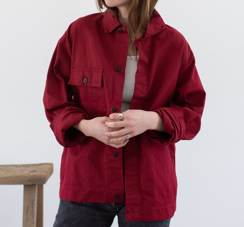 Vintage Berry Single Pocket Work Jacket IT-- Made in Italy M Red Unisex Workwear