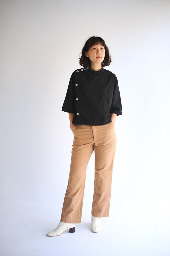 PRE ORDER Vintage Black Side Button Crop Shirt | S