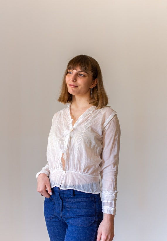 Vintage Victorian White Cotton Blouse | Eyelet Wh… - image 3