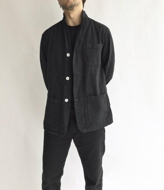 Vintage Black Chore Jacket   Round Three Pocket  