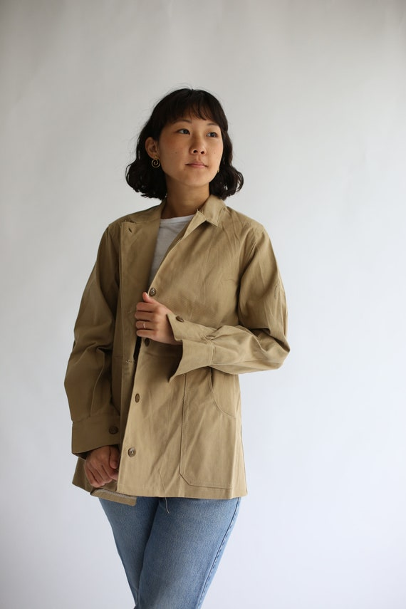 ... Veste en sergé coton kaki Vintage Vintage kaki   Ceinturé manteau kaki  militaire britannique de vêtements ... d3f6aaf673f