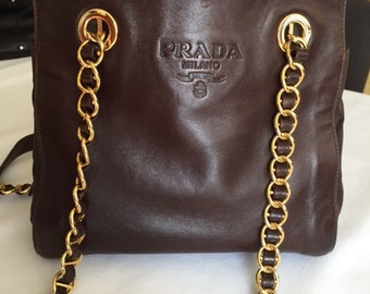 684430740aec PRADA leather and nylon shoulder bag Designers handbags  Woman leather  handbags Brown