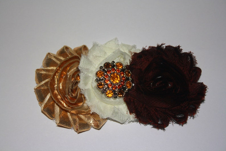 13.5 inches Normally Fits NB-6M and Dark Brown w Silver /& Rhinestone Button Embellishment Boutique Flower Headband Vintage Gold White