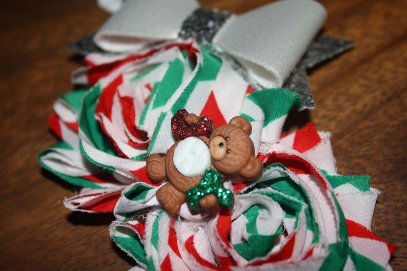 Christmas Green Teddy Bear Shaggy Flower Glitter Bow Christmas Boutique Headband 16 inches Normally Fits 6M-2T Red /& White