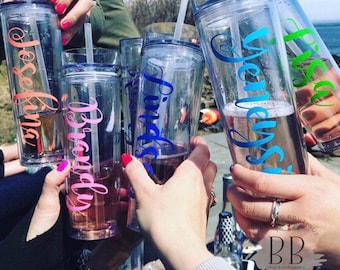 Personalized Tumbler with Straw - 16 oz. - Custom Tumbler with Straw - Lid and Straw - Personalized Tumbler with Straw -Clear Tumbler - Gift