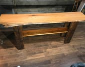 Red oak, barn beam, and cherry accent table