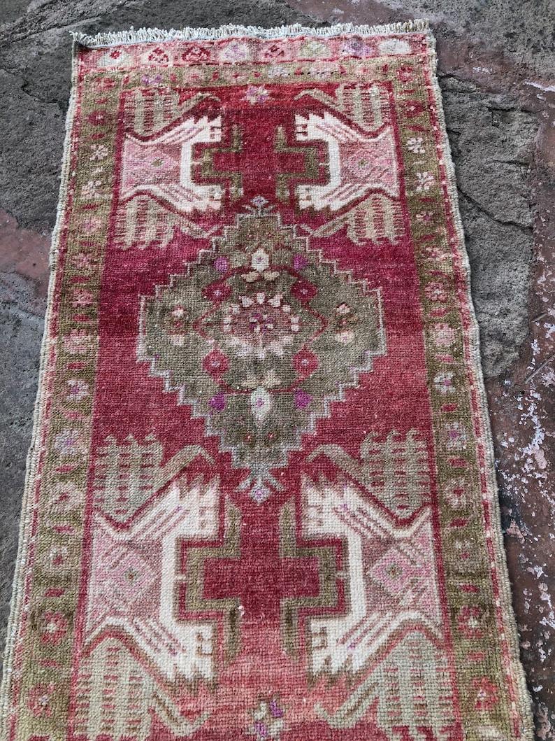 Oushak vintage rug front door rug entry rug Turkish small rug  door mat rug bathroom rug bedside rug Bohemian small rug