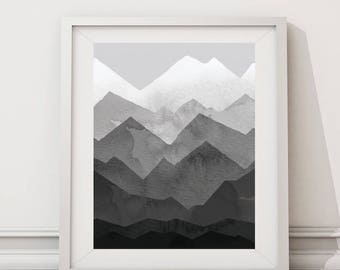 mountain,gray,mountain print,nursery,grey,mountain print,wilderness,mountain,nature,digital,boy,girl, gift for home,men,nursery art,8.5x11