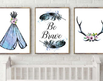 Nursery decor,Set of 3 prints,watercolor,antlers,feathers,t-pee,tribal,Boho,art,gift for baby,girls,nursery,decor,quote,digital print,8.5x11