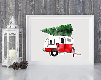 Caravan,travel,Trailer with christmas tree,christmas decor,Printable,Red,watercolor,vintage,gift for home,classic,christmas, wall art, gift