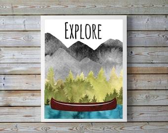 "Explore,tree,mountain,lake,canoe,wildlife.forest,Adventure,decor,boy,playroom,Nursery Decor,Watercolor,nursery wall art 8.5x11""digital print"