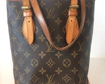 12645ac15021 Authentic Louis Vuitton Monogram Bucket PM Shoulder Bag Handbag