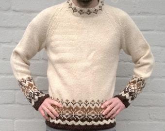 Handmade wool sweater, navajo pullover, men's sweater, wool jumper, winter sweater, oversized women sweater, highlanders sweater, L/M (TW26)