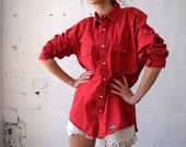 Red denim shirt, long sleeved PETROL shirt, vintage button-up shirt, 90s shirt, western, men shirt, women shirt, M L
