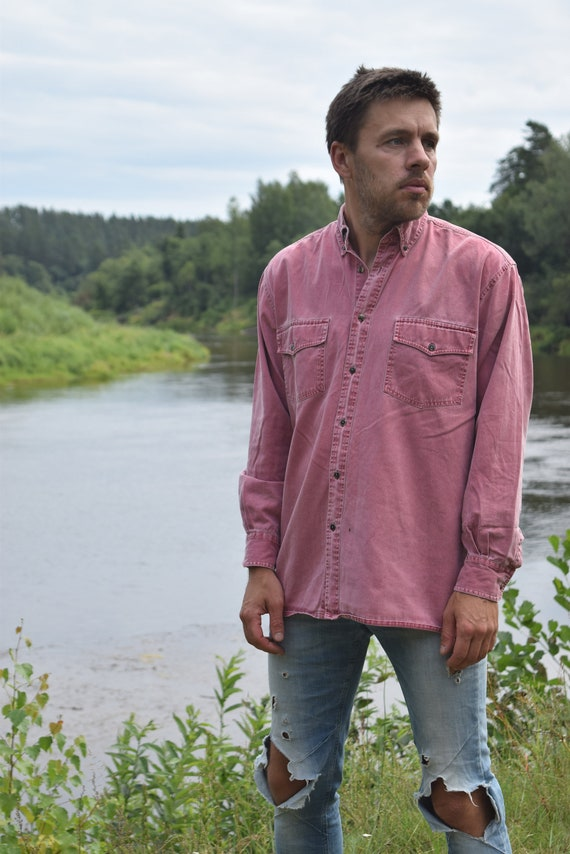 Pink distressed denim shirt - Vintage denim shirt