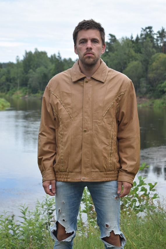 Beige leather jacket - Southwest jacket - Real lea