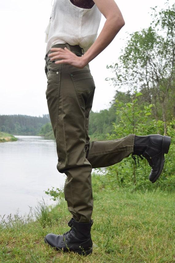 Khaki denim pants - Army style jeans - Vintage mi… - image 6