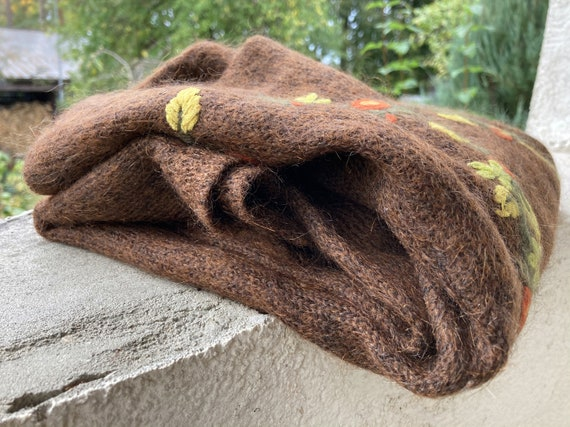 Brown mohair sweater - Women's floral pullover - … - image 9