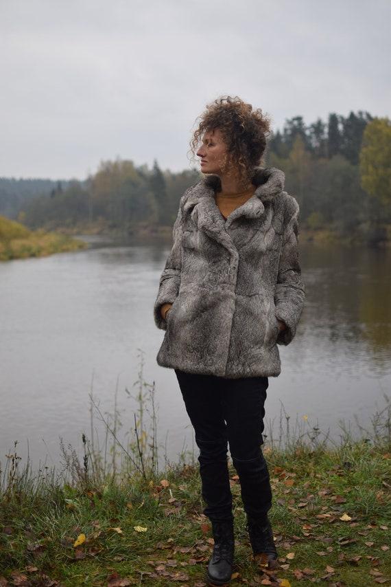 Vintage rabbit fur coat - Real fur jacket - Gray … - image 2