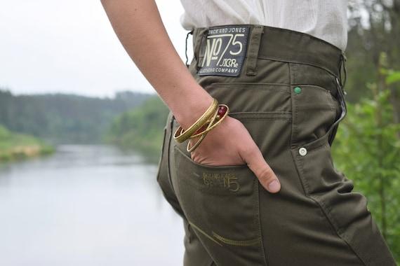 Khaki denim pants - Army style jeans - Vintage mi… - image 1