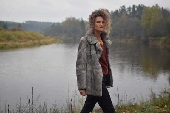 Vintage rabbit fur coat - Real fur jacket - Gray … - image 5