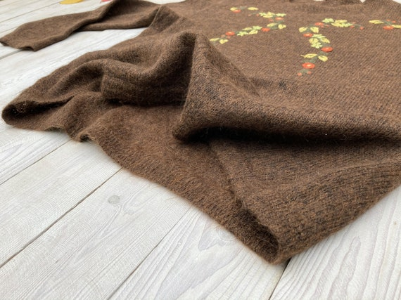 Brown mohair sweater - Women's floral pullover - … - image 6