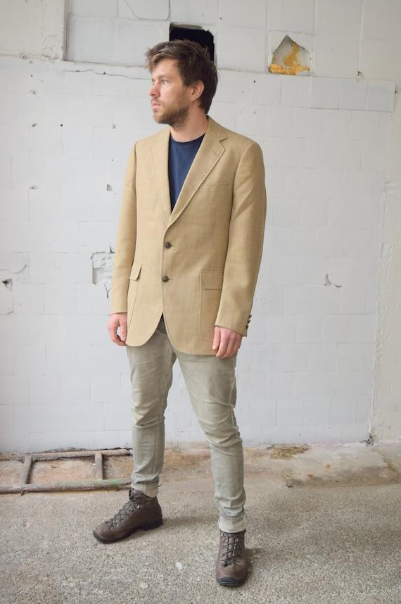 Vintage Linen Blazer Austin Reed Sport Coat Classic Plaid Etsy