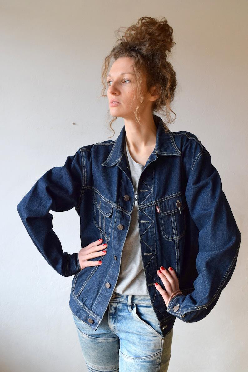 23357f47c Dark blue denim jacket, vintage jean jacket, women denim, men's outdoor  jacket, jean bomber, vintage streetwear, american workwear, M/L