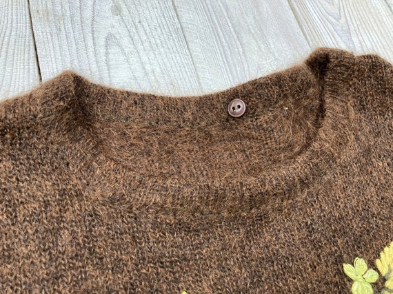 Brown mohair sweater - Women's floral pullover - … - image 5