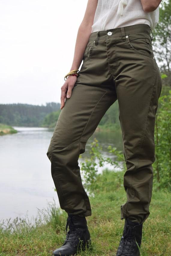 Khaki denim pants - Army style jeans - Vintage mi… - image 2