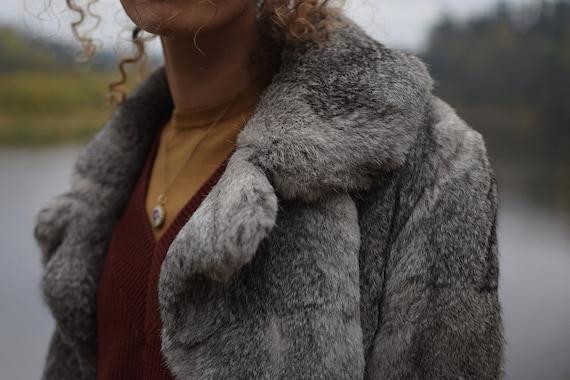 Vintage rabbit fur coat - Real fur jacket - Gray … - image 9