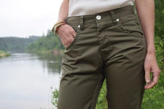Khaki denim pants - Army style jeans - Vintage mi… - image 3