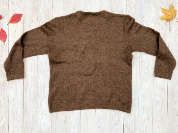 Brown mohair sweater - Women's floral pullover - … - image 7