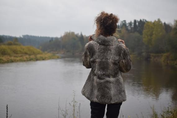 Vintage rabbit fur coat - Real fur jacket - Gray … - image 7
