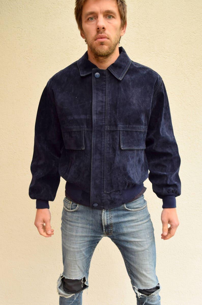 21b8def5c Dark blue outdoor jacket, Bomber jacket,Men outerwear,Plain jacket, Men's  jacket, 80s,Overcoat,Workwear, Women's outerwear, Old school, M/L