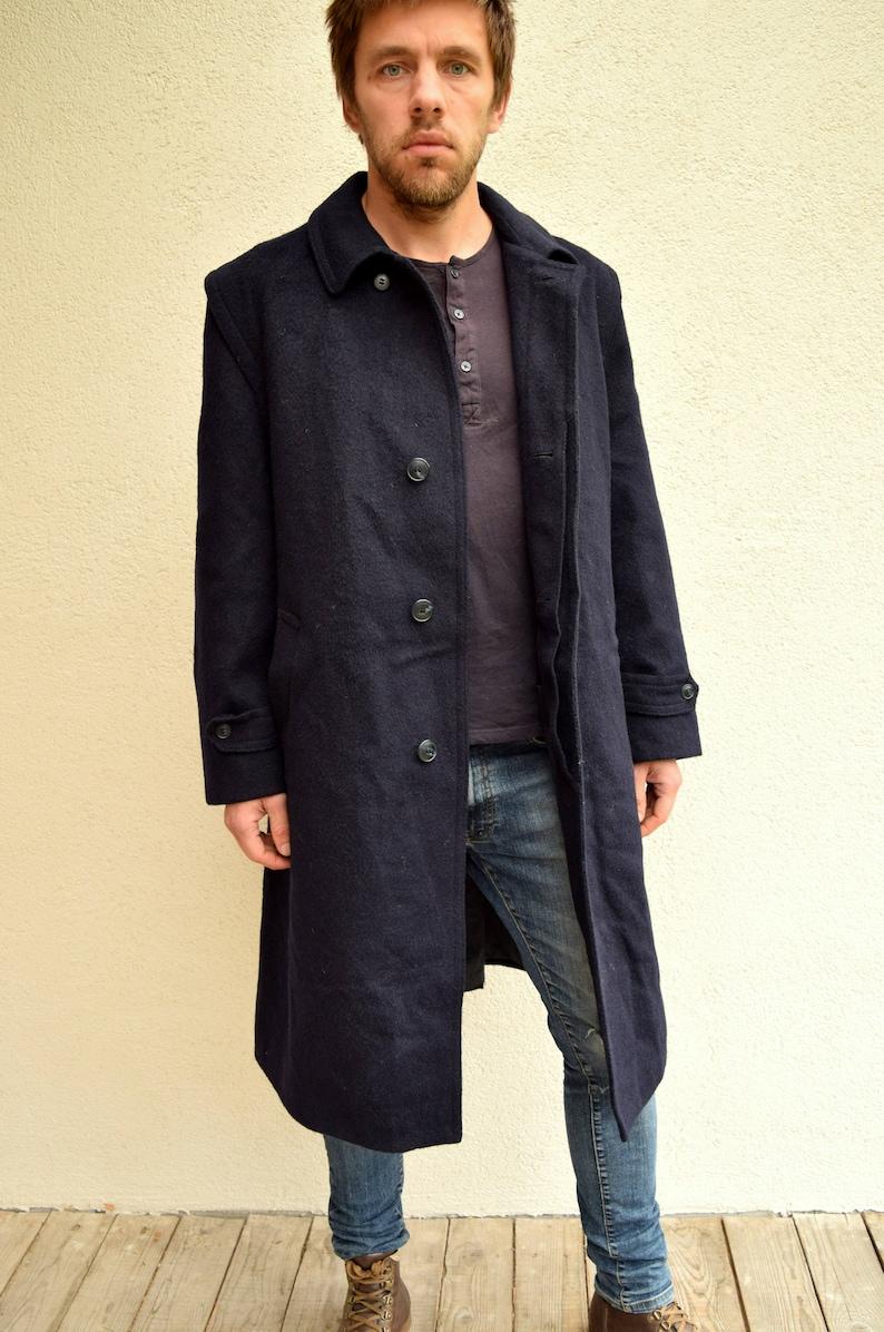 Oratop Coat Dark Blue Wool Coat Winter Jacket Men Long Etsy