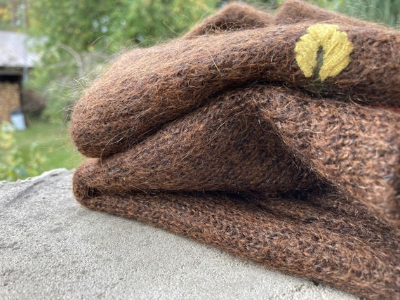 Brown mohair sweater - Women's floral pullover - … - image 10