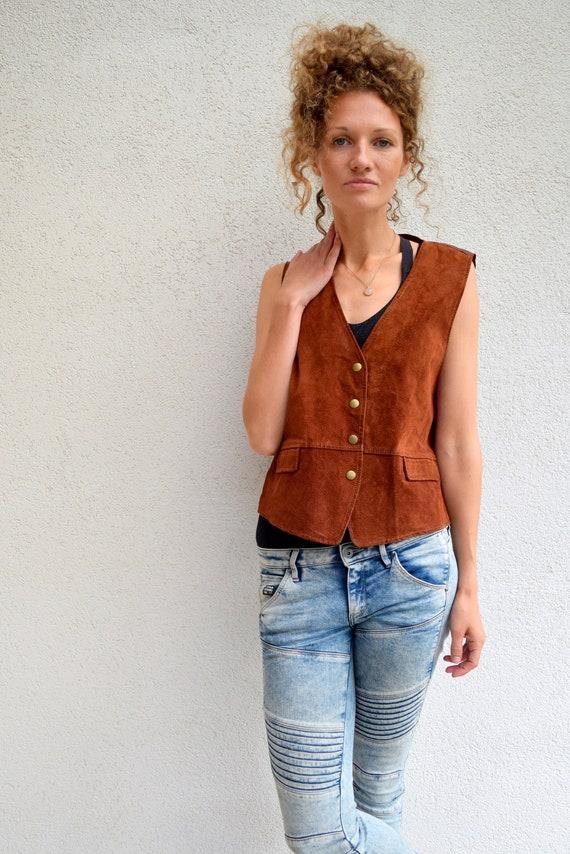 ce0076575f43 Authentische Lederweste Vintage Wildleder Taille Mantel   Etsy