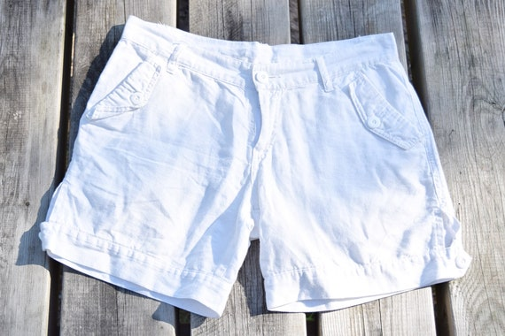 White linen&cotton shorts - Light summer shorts -