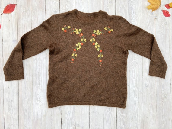 Brown mohair sweater - Women's floral pullover - … - image 2