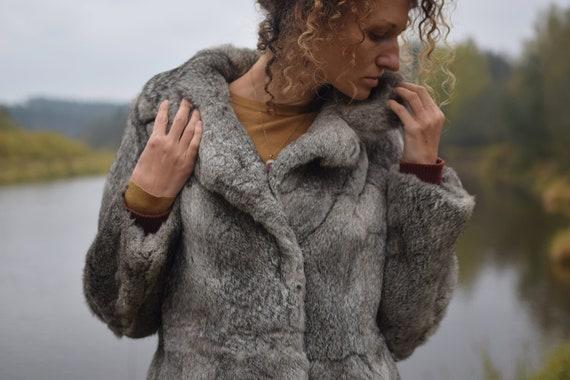 Vintage rabbit fur coat - Real fur jacket - Gray w