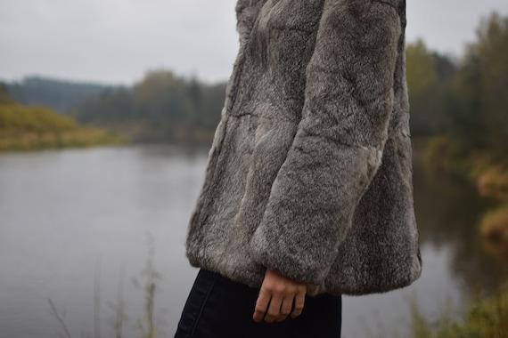 Vintage rabbit fur coat - Real fur jacket - Gray … - image 4