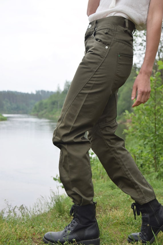 Khaki denim pants - Army style jeans - Vintage mi… - image 9