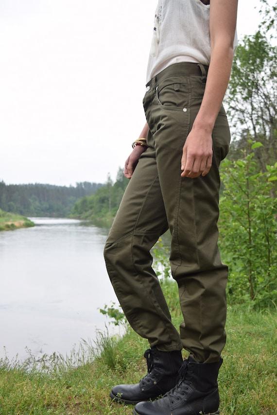 Khaki denim pants - Army style jeans - Vintage mi… - image 5